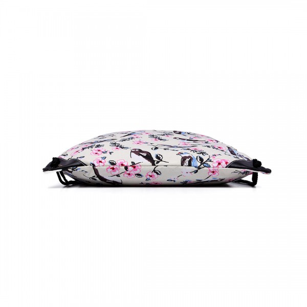 E1406-16J - Miss Lulu Unisex Drawstring Backpack Bird Print Beige