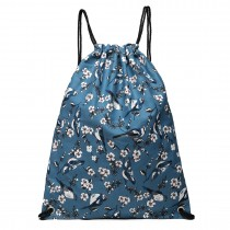 E1406-16J - Miss Lulu Unisex Drawstring Backpack Bird Print Dark Blue