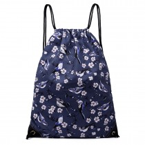 E1406-16J - Miss Lulu Unisex Drawstring Backpack Bird Print Navy