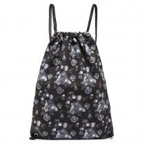 E1406-16ROSE - Miss Lulu Unisex Drawstring Backpack Rose Print Black