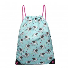 E1406 UN - Miss Lulu Unicorn Print Drawstring Backpack - Blue