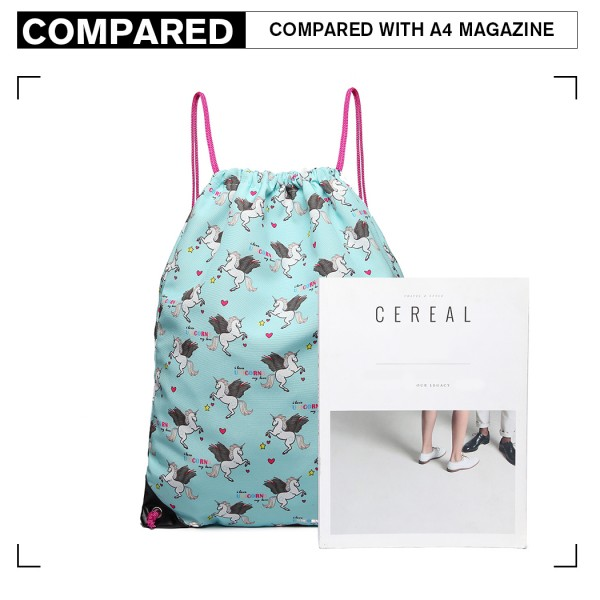 E1406-UN MISS LULU UNISEX DRAWSTRING BACKPACK UNICORN PRINT BLUE