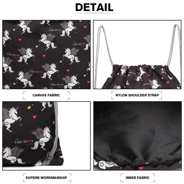 E1406-UN - Miss Lulu Unicorn Print Drawstring Backpack - Black
