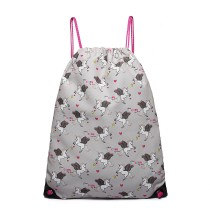 E1406-UN- Panna Lulu Unicorn Druk Drawstring Backpack- Grey