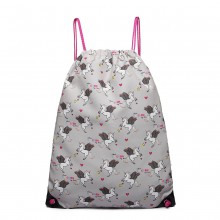 E1406-UN - Miss Lulu Unicorn Print Drawstring Backpack - Grey
