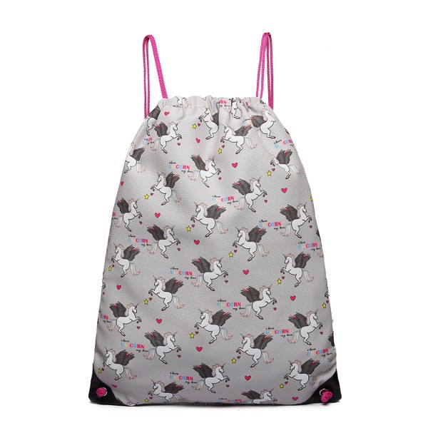 E1406 UN - Miss Lulu Unicorn Print Drawstring Backpack - Grey