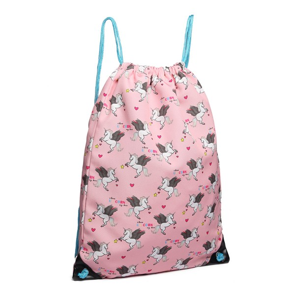 E1406 UN - Miss Lulu Unicorn Print Drawstring Backpack - Pink