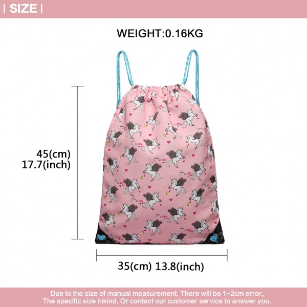 E1406-UN - Miss Lulu Unicorn Print Drawstring Backpack - Pink