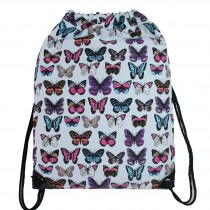 E1406B - Unisex Drawstring Backpack Butterfly Blue