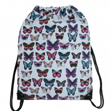 E1406B - Miss Lulu Unisex Drawstring Backpack Butterfly Blue