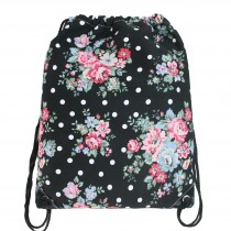 E1406F - Miss Lulu Unisex Drawstring Backpack Flower And Polka Dot Black