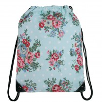 E1406F - Unisex Drawstring Backpack Flower Blue