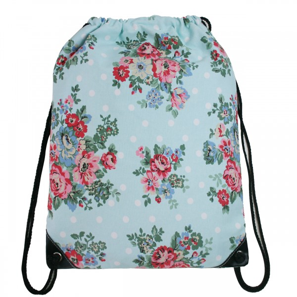 E1406F - Miss Lulu Unisex Drawstring Backpack Flower And Polka Dot Blue