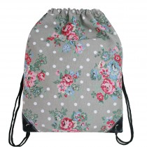 E1406F - Miss Lulu Unisex Drawstring Backpack Flower And Polka Dot Grey