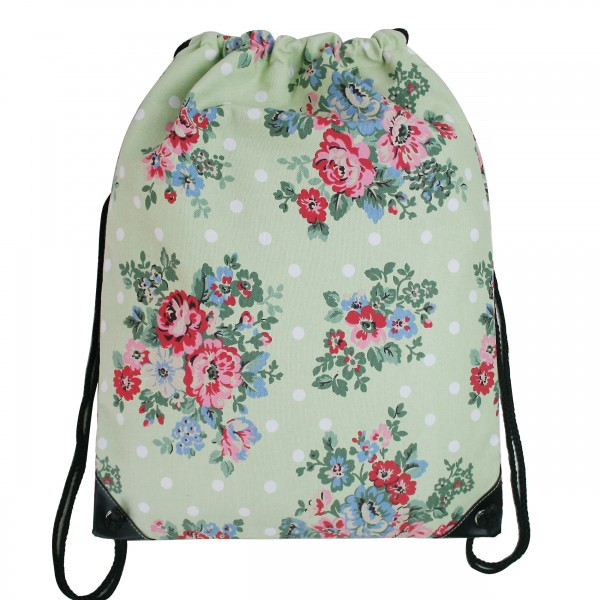 E1406F - Miss Lulu Unisex Drawstring Backpack Flower And Polka Dot Green