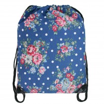 E1406F - Unisex Drawstring Backpack Flower Navy