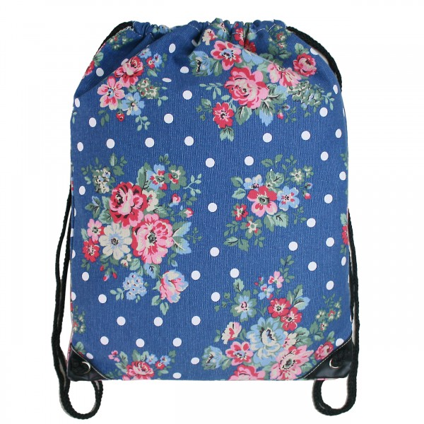 E1406F - Miss Lulu Unisex Drawstring Backpack Flower And Polka Dot Navy
