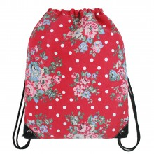 E1406F - Miss Lulu Unisex Drawstring Backpack Flower And Polka Dot Red