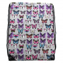 E1406B --Miss Lulu Unisex Drawstring Backpack Butterfly Grey