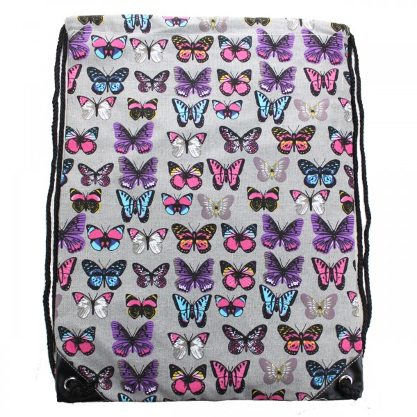 E1406B - Miss Lulu Unisex Drawstring Backpack Butterfly Grey