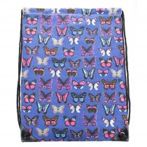 E1406B - Unisex Drawstring Backpack Butterfly Navy