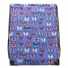 E1406B - Miss Lulu Unisex Drawstring Backpack Butterfly Navy