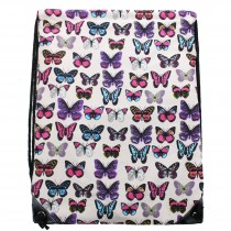 E1406B - Miss Lulu Unisex Drawstring Backpack Butterfly Pink
