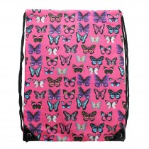 E1406B - Miss Lulu Unisex Drawstring Backpack Butterfly Plum