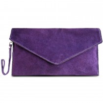 E1405 - Miss Lulu Suede Envelope Clutch Bag Purple