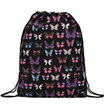E1406B - Unisex Drawstring Backpack Butterfly Black