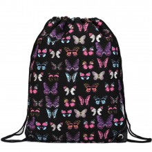 E1406B - Miss Lulu Unisex Drawstring Backpack Butterfly Black