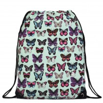 E1406B - Unisex Drawstring Backpack Butterfly Green