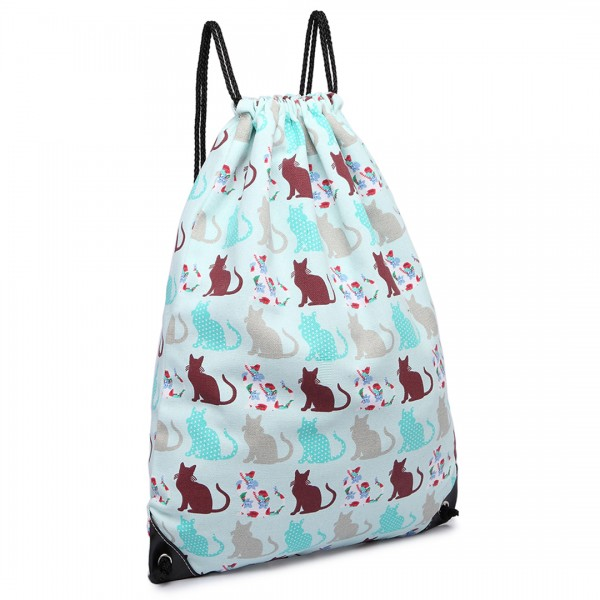 E1406CT - Miss Lulu Unisex Drawstring Backpack Cat Blue