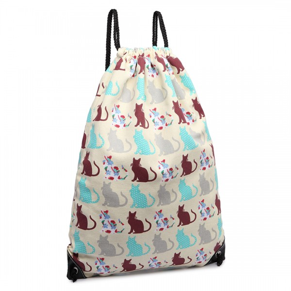 E1406CT - Miss Lulu Unisex Drawstring Backpack Cat Beige