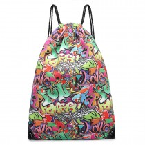 E1406G - Miss Lulu Unisex Drawstring Backpack Graffiti