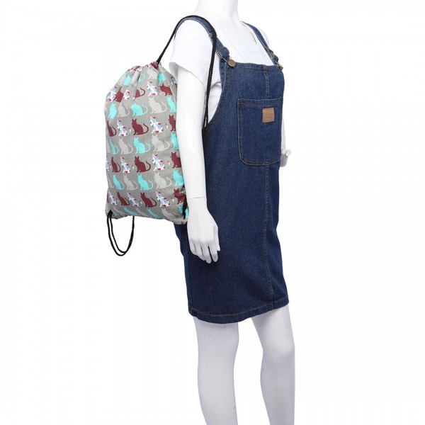 E1406CT - Miss Lulu Unisex Drawstring Backpack Cat Grey