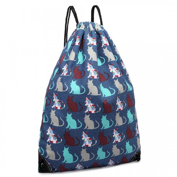 E1406CT - Miss Lulu Unisex Drawstring Backpack Cat Navy