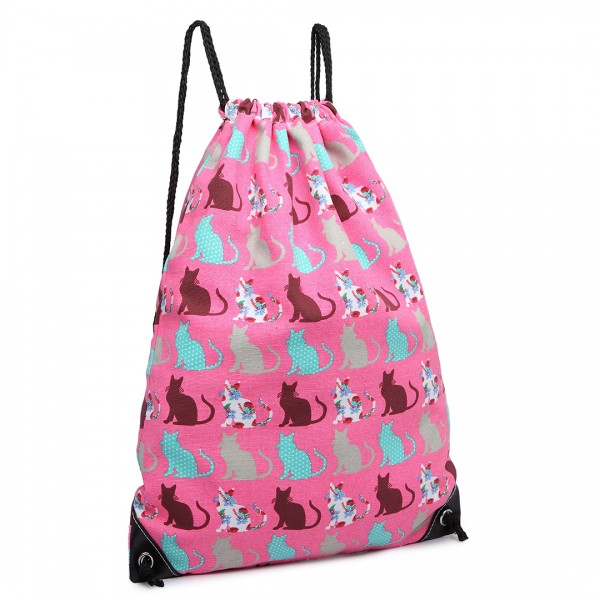 E1406CT - Miss Lulu Unisex Drawstring Backpack Cat Pink