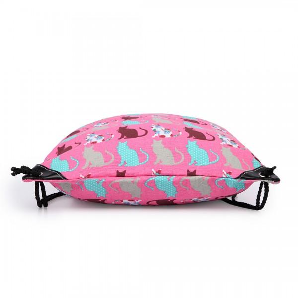 E1406CT - Miss Lulu Unisex Drawstring Backpack Cat Pink