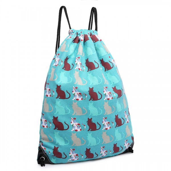 E1406CT - Miss Lulu Unisex Drawstring Backpack Cat Teal