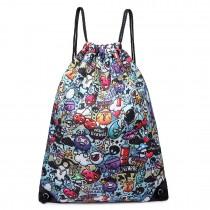 E1406CG - Miss Lulu Unisex Drawstring Backpack Cartoon Graffiti