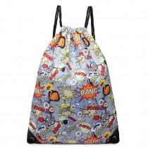 E1406POW - Miss Lulu Unisex Drawstring Backpack Pow