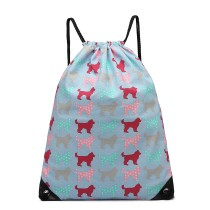 E1406NDG - Miss Lulu Unisex Drawstring Backpack Dog Blue