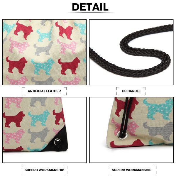 E1406NDG - Miss Lulu Unisex Drawstring Backpack Dog Beige