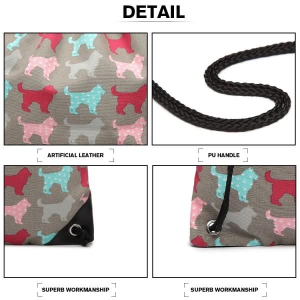 E1406NDG - Miss Lulu Unisex Drawstring Backpack Dog Grey