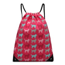 E1406NDG - Miss Lulu Unisex Drawstring Backpack Dog Plum