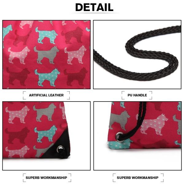 E1406NDG - Miss Lulu Unisex Drawstring Backpack Dog Plum