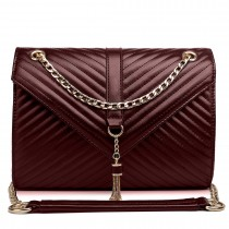 E1635 - Miss Lulu Leather Look Quilted Chain Shoulder Bag Coffee