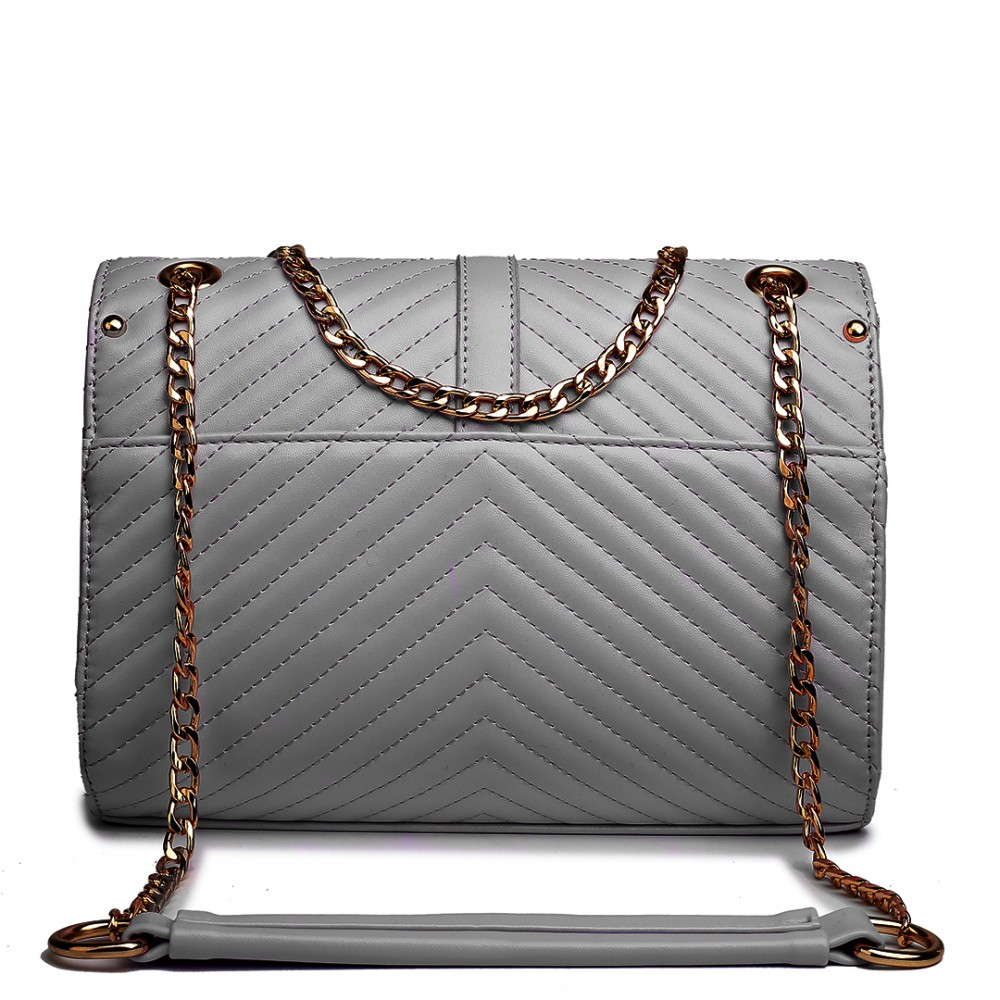 1d3bebb28f E1635 - Miss Lulu Leather Look Quilted Chain Shoulder Bag Grey
