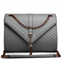 E1635 - Miss Lulu Leather Look Quilted Chain Shoulder Bag Grey